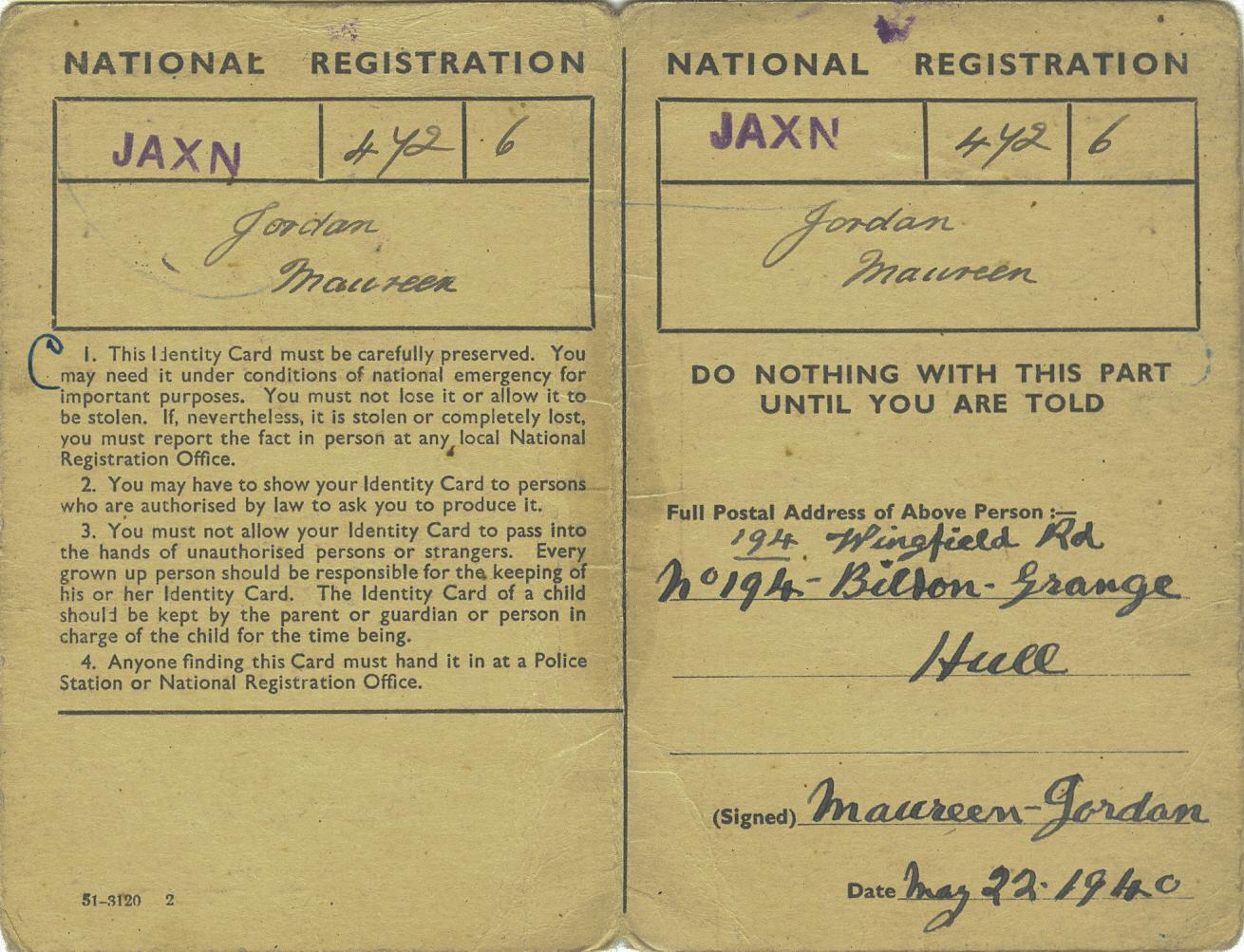 Mam's ID card inside copy