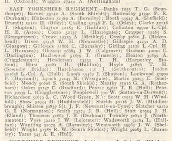 War Office Daily Casualty List East Yorks